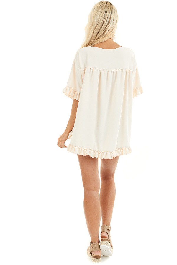 Champagne Short Sleeve Woven Top with Hi Low Ruffle Hemline back full body