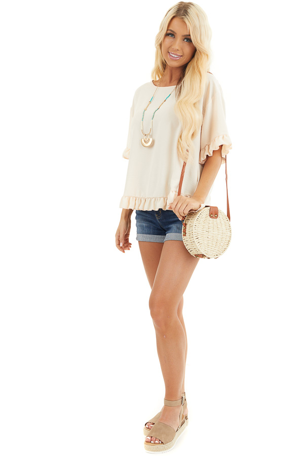 Champagne Short Sleeve Woven Top with Hi Low Ruffle Hemline front full body