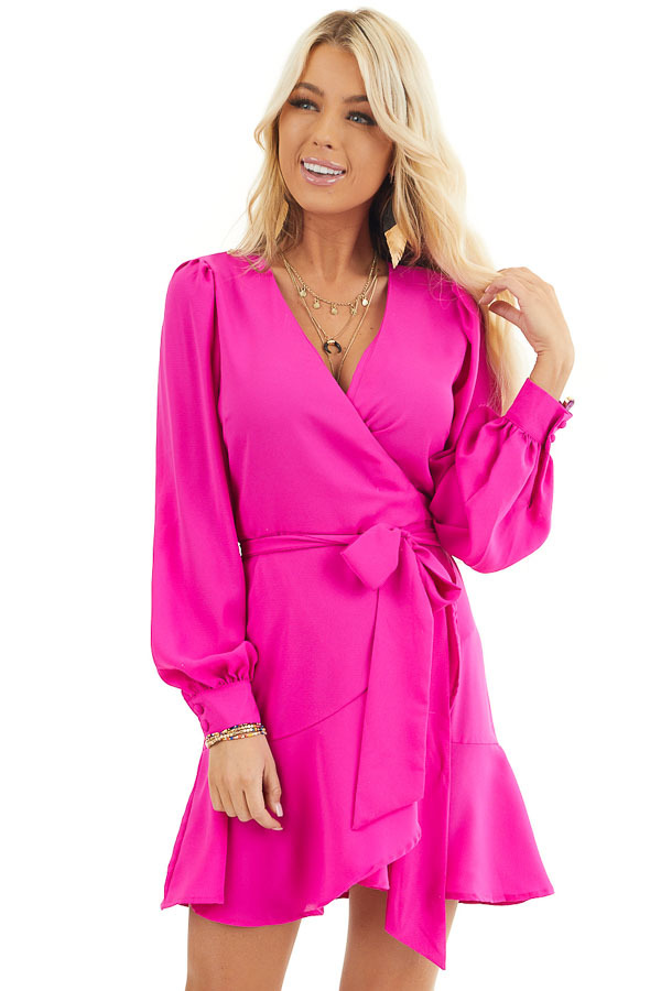 Fuchsia Long Sleeve Mini Wrap Dress with Side Tie front close up