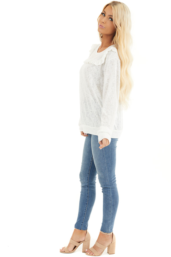 Ivory Long Sleeve Knit Top with Ruffled Details side full body