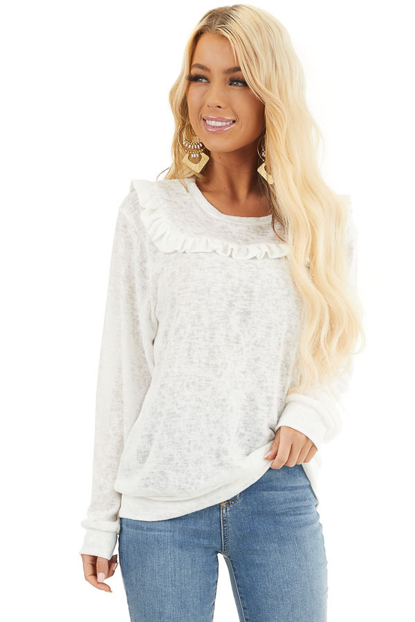 Ivory Long Sleeve Knit Top with Ruffled Details front close up