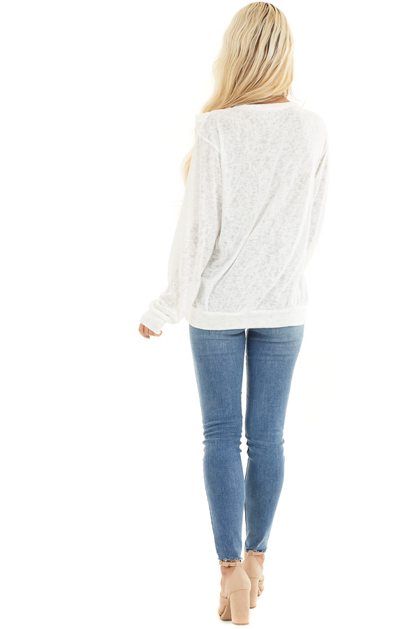Ivory Long Sleeve Knit Top with Ruffled Details back full body