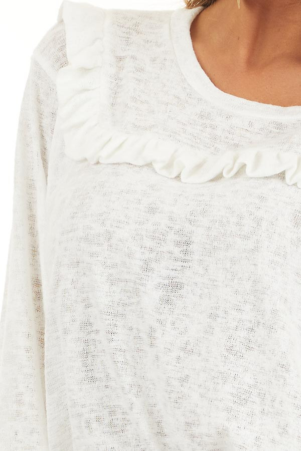 Ivory Long Sleeve Knit Top with Ruffled Details detail