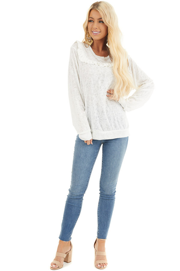 Ivory Long Sleeve Knit Top with Ruffled Details front full body