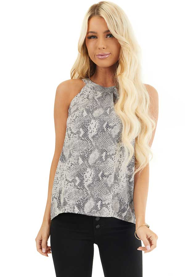 Grey and Black Snake Print Sleeveless Woven Halter Top front close up