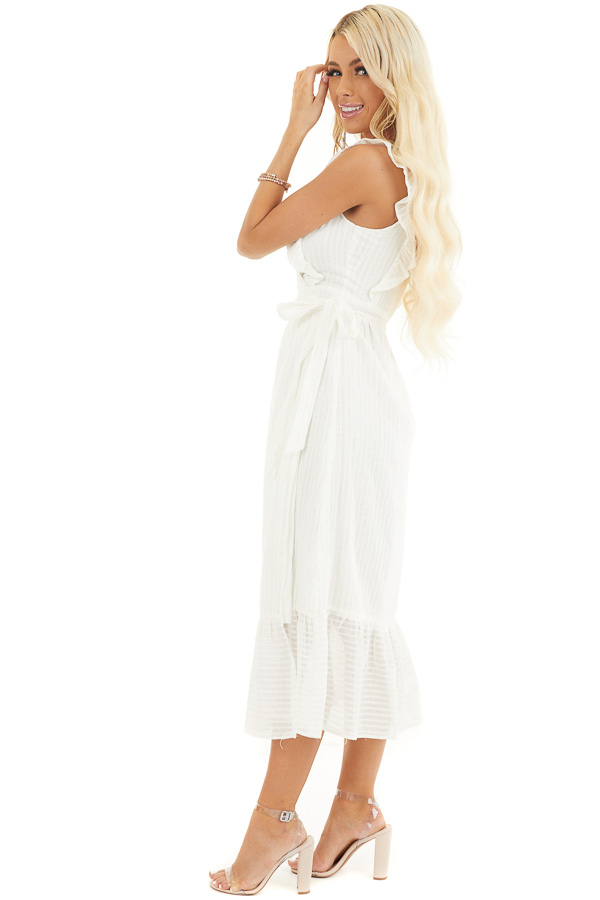 White and Silver Surplice Midi Wrap Dress with Ruffle Detail side full body