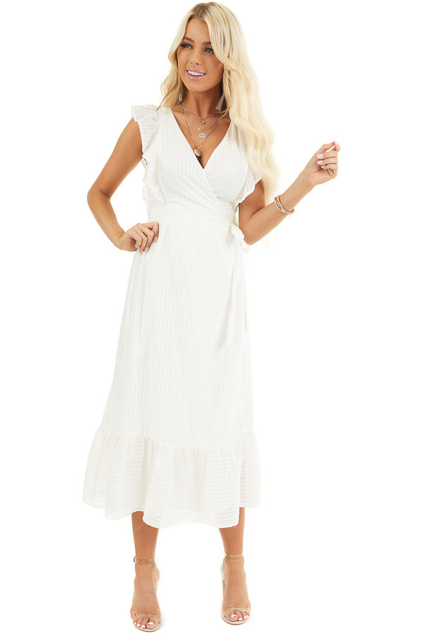 White and Silver Surplice Midi Wrap Dress with Ruffle Detail front full body