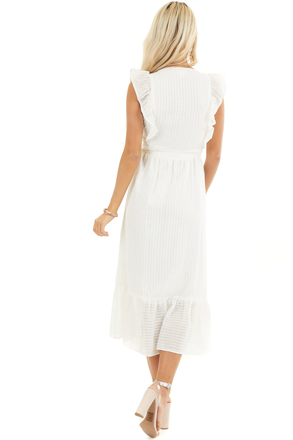 White and Silver Surplice Midi Wrap Dress with Ruffle Detail back full body