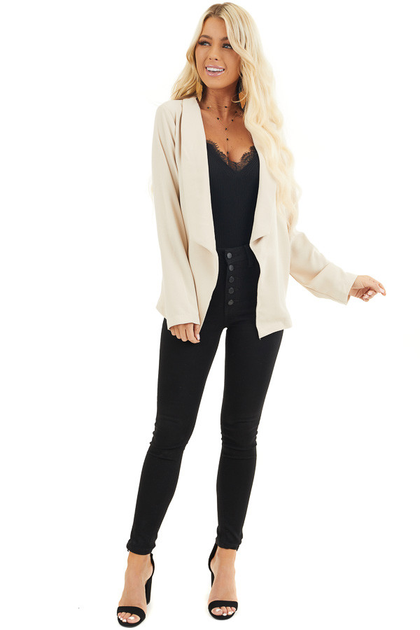 Beige Open Front Long Sleeve Jacket with Pockets front full body