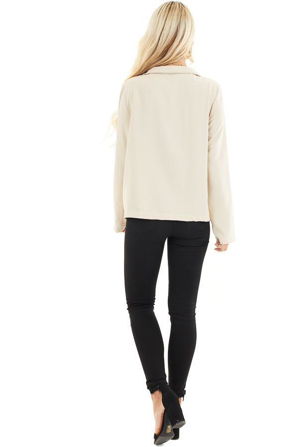 Beige Open Front Long Sleeve Jacket with Pockets back full body