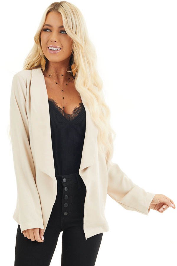 Beige Open Front Long Sleeve Jacket with Pockets front close up