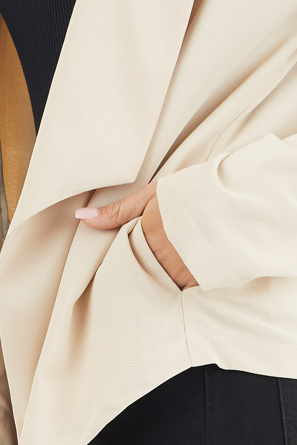 Beige Open Front Long Sleeve Jacket with Pockets detail