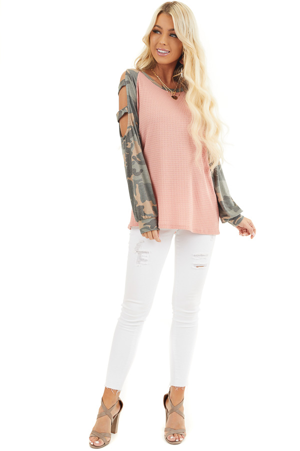 Coral Waffle Knit Top with Camo Print Cold Shoulder Sleeves front full body