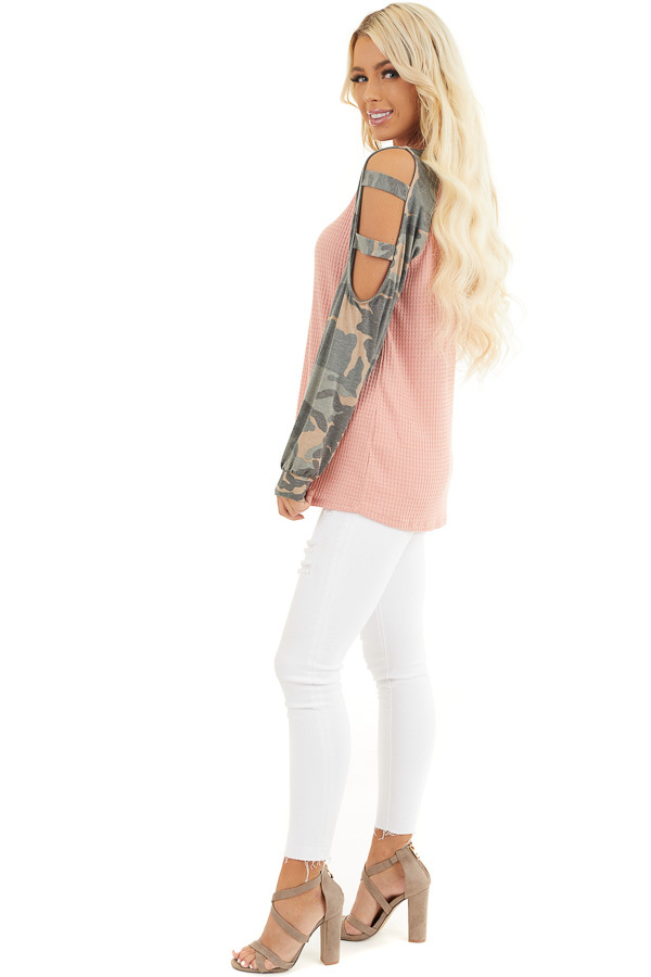 Coral Waffle Knit Top with Camo Print Cold Shoulder Sleeves side full body