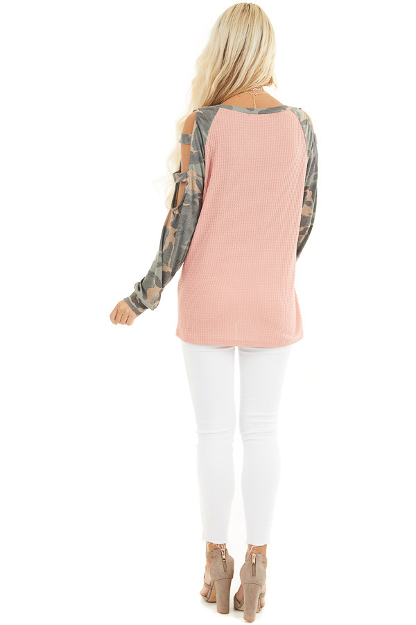 Coral Waffle Knit Top with Camo Print Cold Shoulder Sleeves back full body