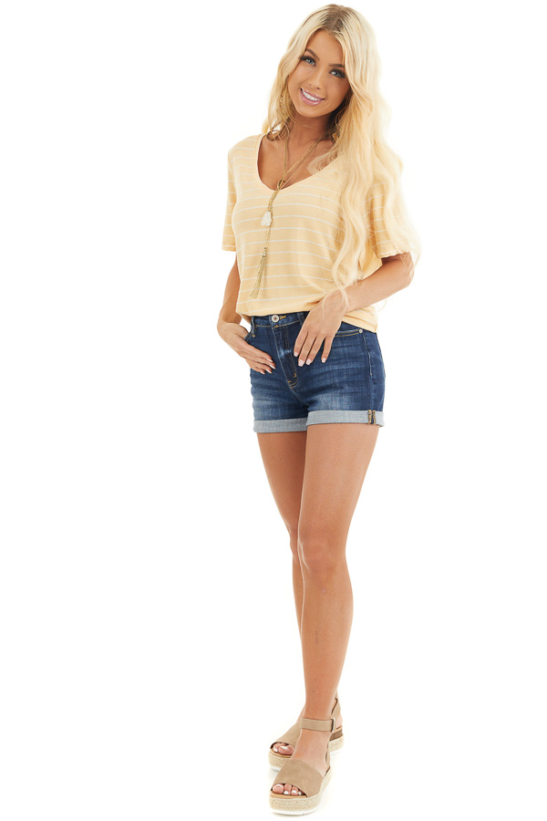 Mustard and White Striped Knit Top with Rounded Neckline front full body