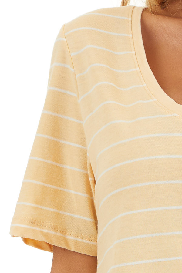 Mustard and White Striped Knit Top with Rounded Neckline detail