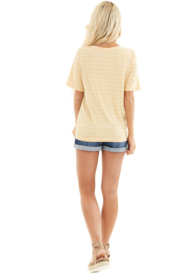 Mustard and White Striped Knit Top with Rounded Neckline back full body