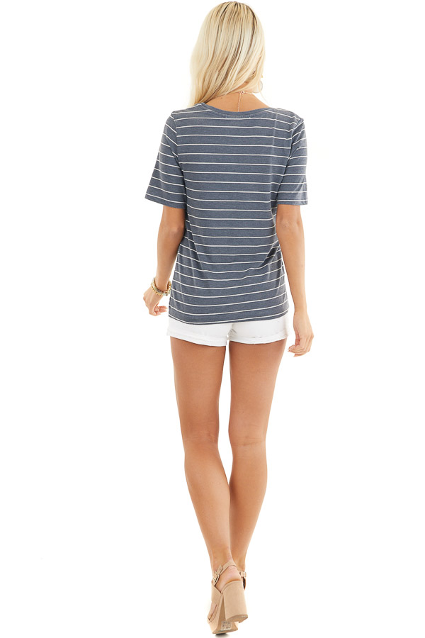 Navy and White Striped Knit Top with Rounded Neckline back full body