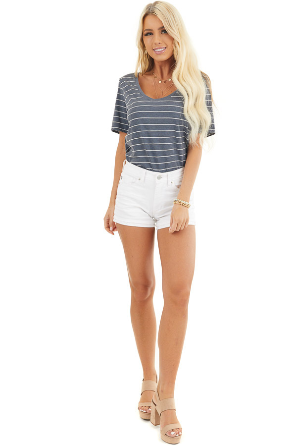 Navy and White Striped Knit Top with Rounded Neckline front full body