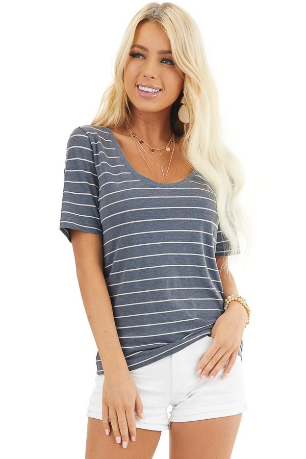 Navy and White Striped Knit Top with Rounded Neckline front close up