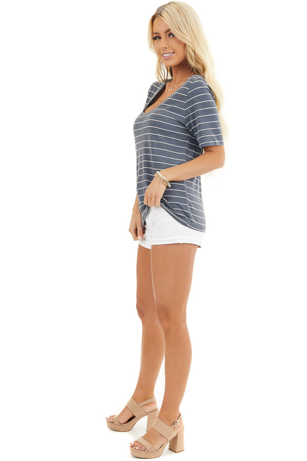 Navy and White Striped Knit Top with Rounded Neckline side full body