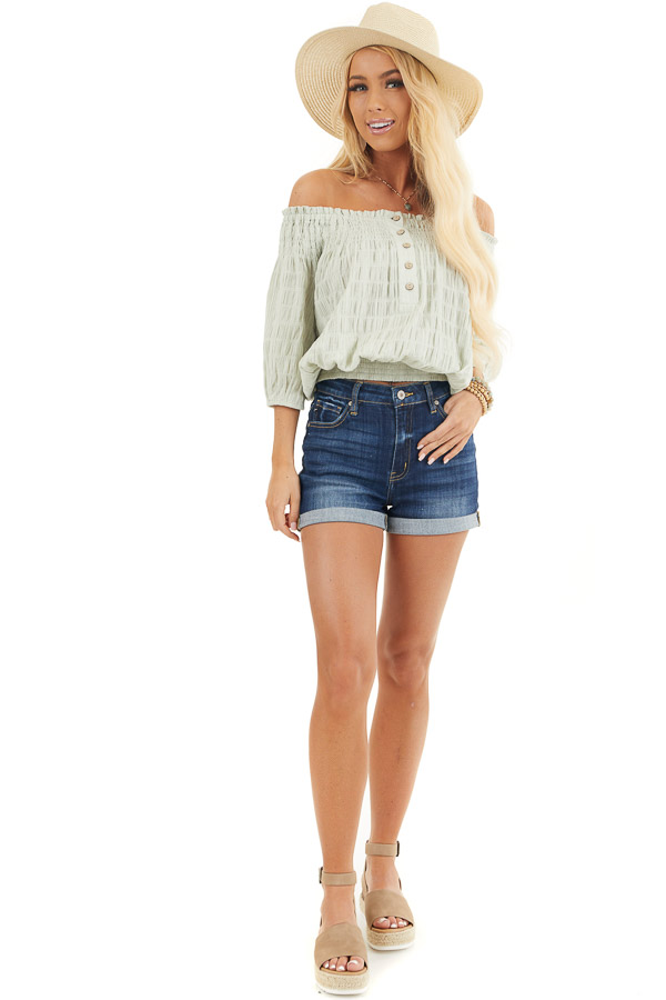 Mint Green Off the Shoulder Woven Top with Smocked Detail front full body