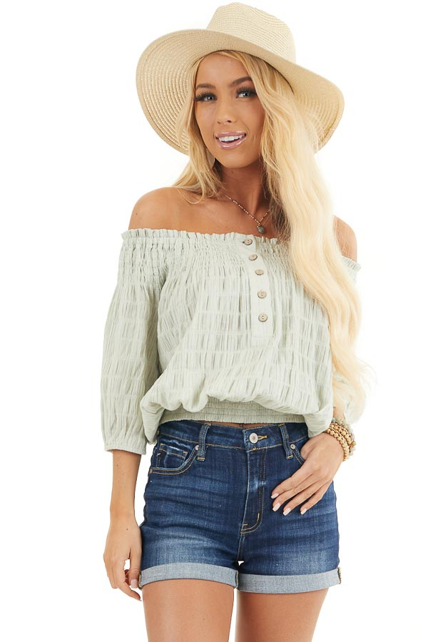 Mint Green Off the Shoulder Woven Top with Smocked Detail front close up