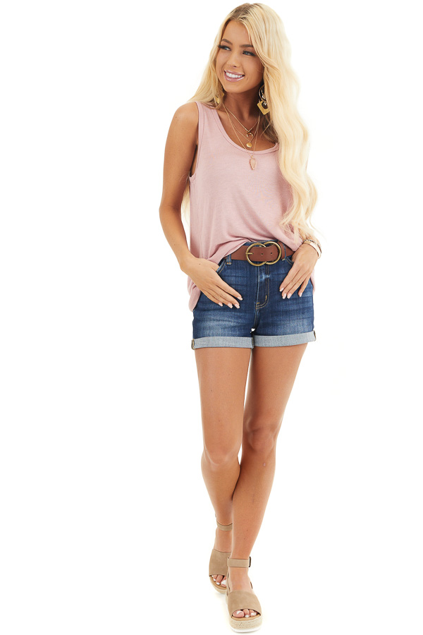 Dusty Blush Knit Tank Top with Rounded Neckline front full body