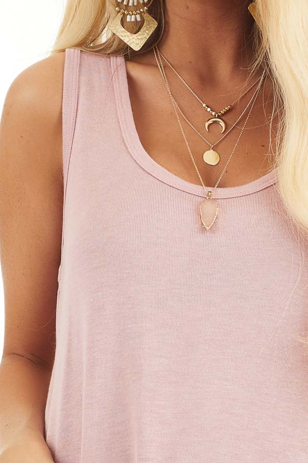 Dusty Blush Knit Tank Top with Rounded Neckline detail