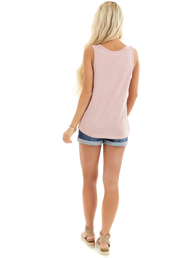 Dusty Blush Knit Tank Top with Rounded Neckline back full body