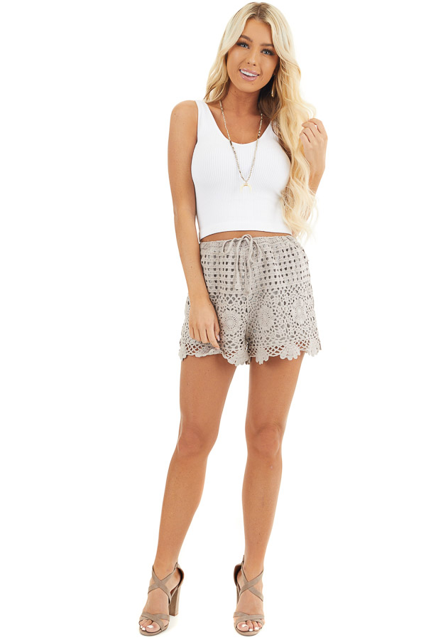 Taupe Eyelet Crochet Knit Shorts with Waist Drawstring front full body