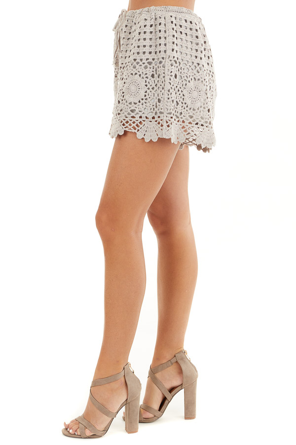 Taupe Eyelet Crochet Knit Shorts with Waist Drawstring side view
