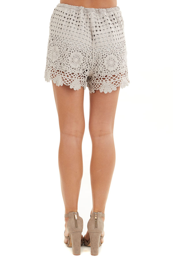 Taupe Eyelet Crochet Knit Shorts with Waist Drawstring back view