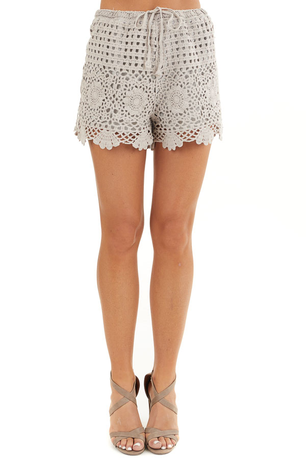 Taupe Eyelet Crochet Knit Shorts with Waist Drawstring front view