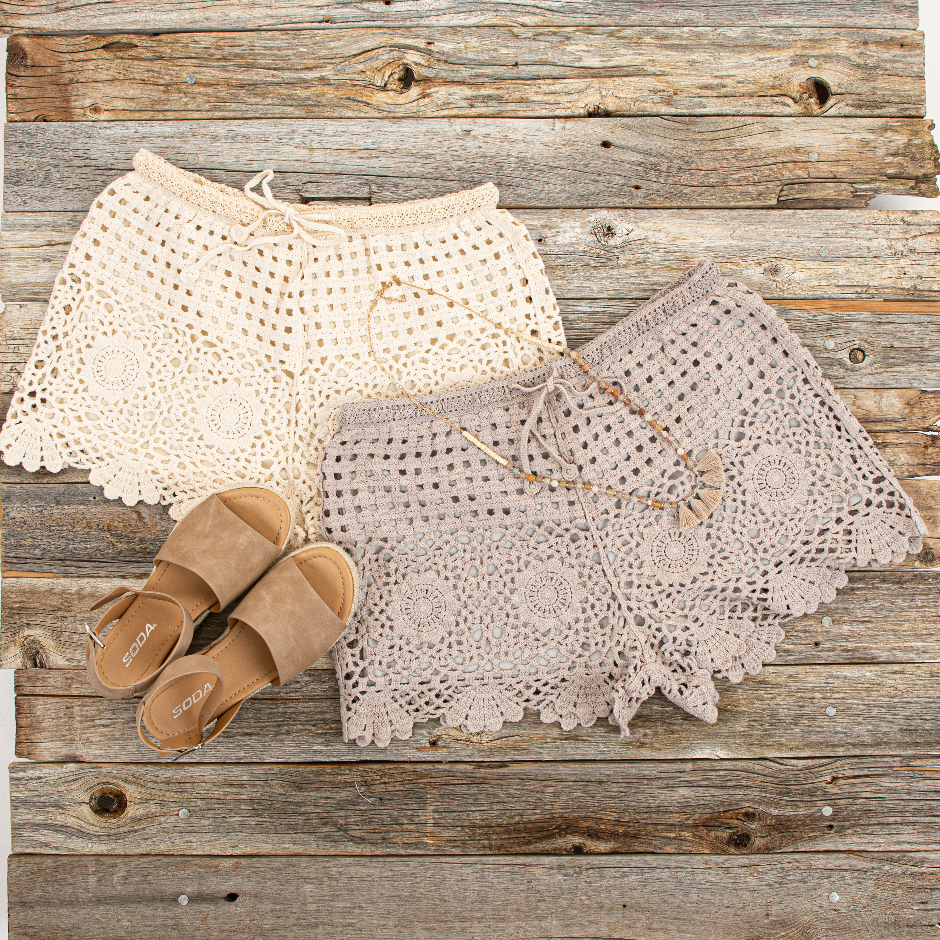 Taupe Eyelet Crochet Knit Shorts with Waist Drawstring
