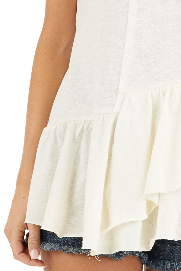 Off White Sleeveless Woven Top with Wrap Around Ruffles detail