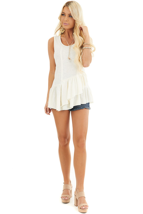 Off White Sleeveless Woven Top with Wrap Around Ruffles front full body