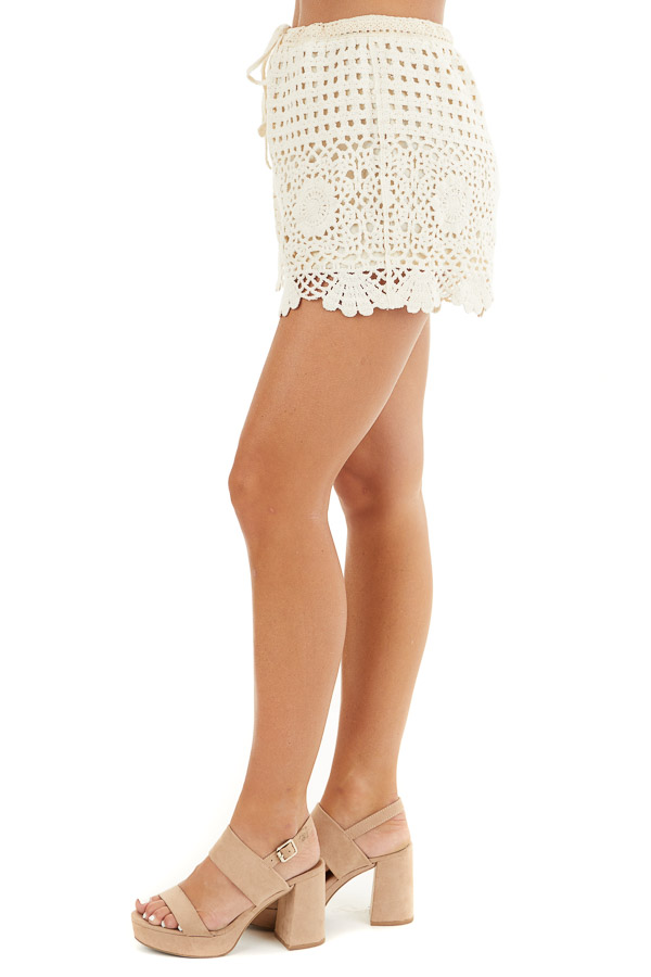 Cream Eyelet Crochet Knit Shorts with Waist Drawstring side view
