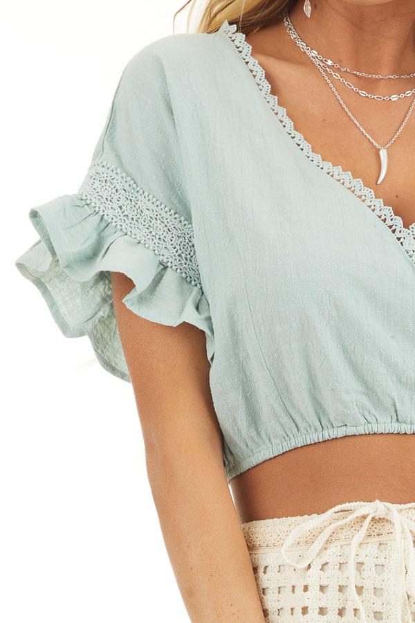 Sage Green Crop Top with Lace Details and Elastic Waistband detail