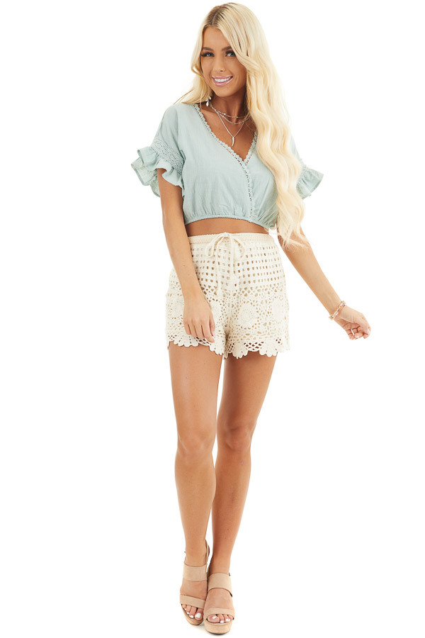 Sage Green Crop Top with Lace Details and Elastic Waistband front full body