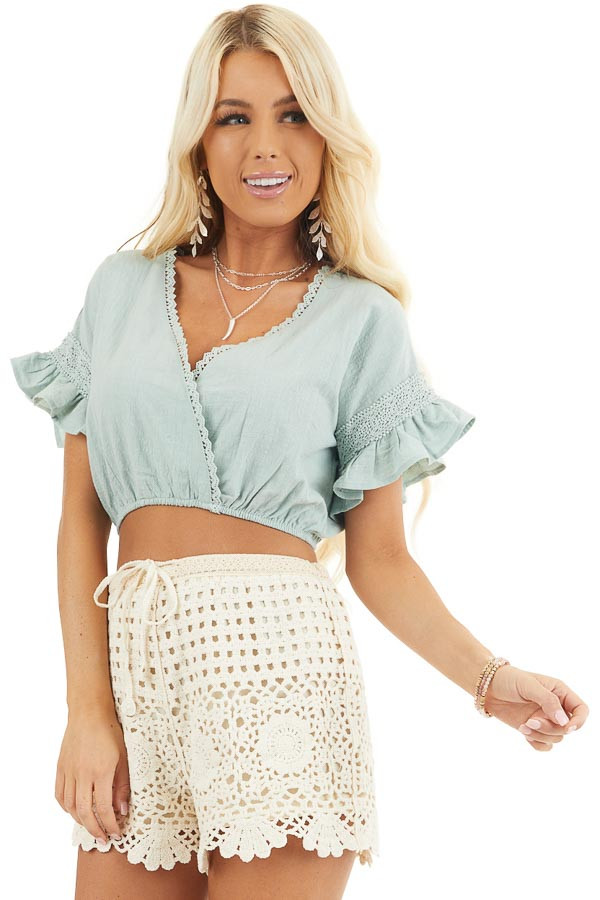 Sage Green Crop Top with Lace Details and Elastic Waistband front close up