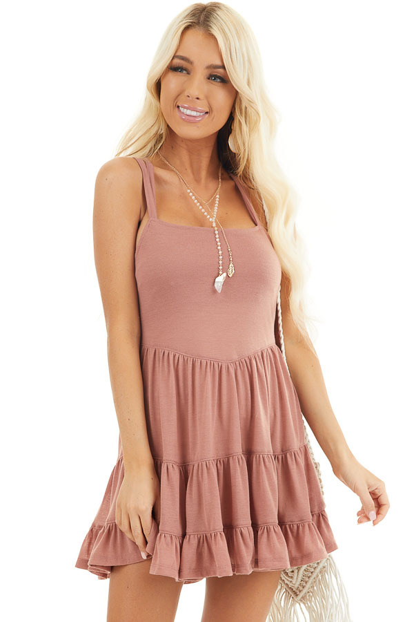 Dusty Blush Babydoll Tiered Tunic Dress with Dual Straps front close up
