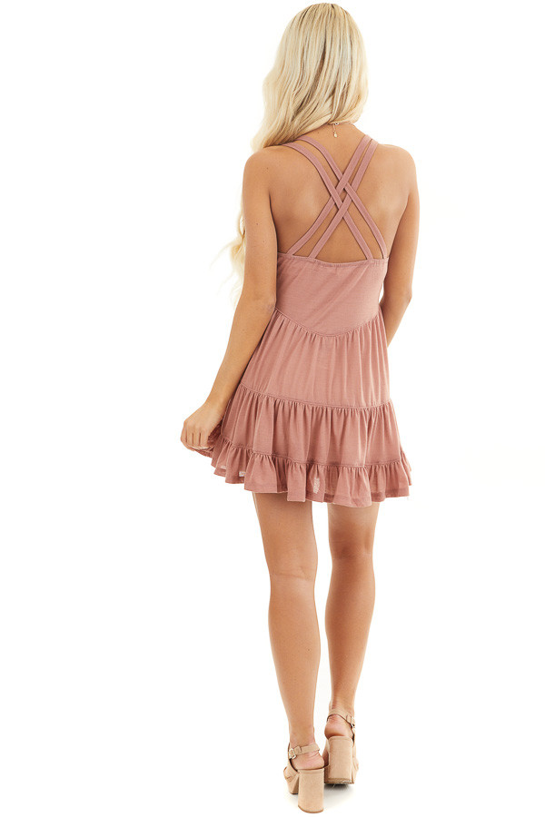 Dusty Blush Babydoll Tiered Tunic Dress with Dual Straps back full body