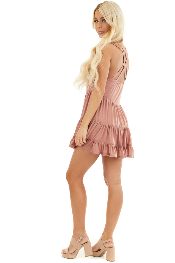 Dusty Blush Babydoll Tiered Tunic Dress with Dual Straps side full body