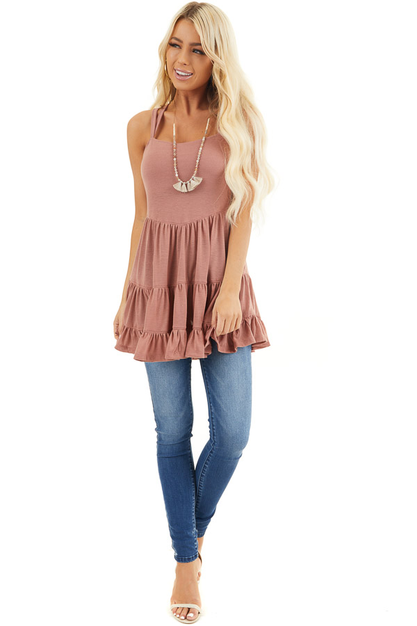 Dusty Blush Babydoll Tiered Tunic Dress with Dual Straps front full body
