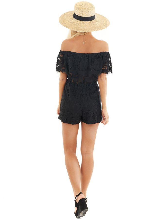 Black Off the Shoulder Lace Romper with Elastic Waist back full body