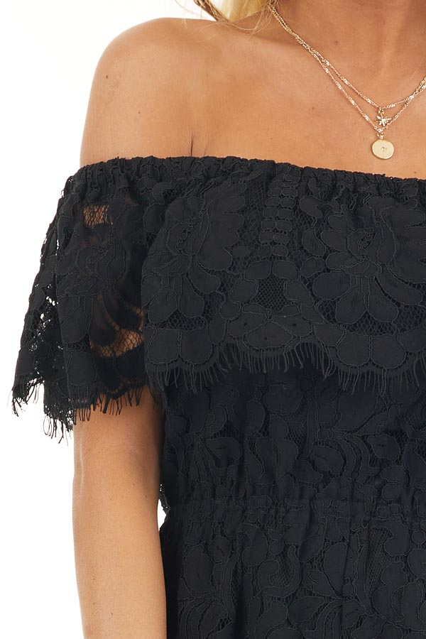 Black Off the Shoulder Lace Romper with Elastic Waist detail