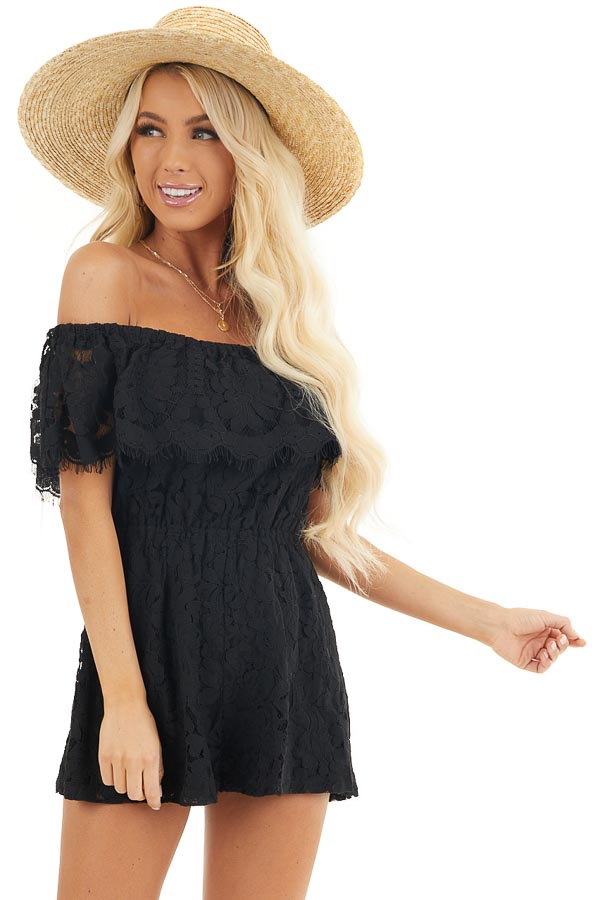 Black Off the Shoulder Lace Romper with Elastic Waist front close up