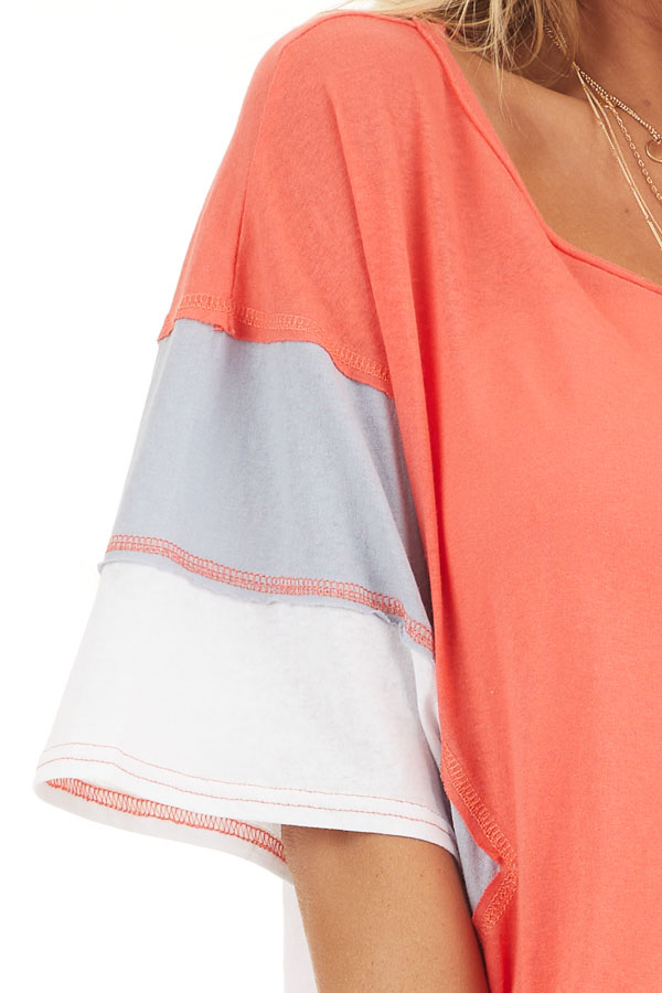 Bright Coral Colorblock Top with Dolman Sleeves detail